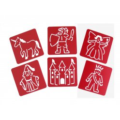 lot de 6 pochoirs 15x15cm  princesses et chevaliers