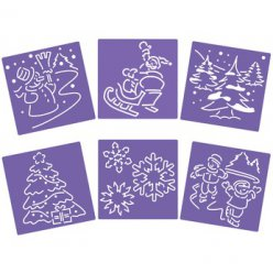 pochoirs 15x15 cm scenes de noel lot de 6 pieces