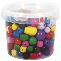 perles en bois multicolores 16  25 mm o 350 gr