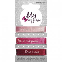 Rubans satin My message 0,9 cm teintes rose vif