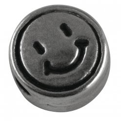 perle en metal smiley 7mm o 5 pieces