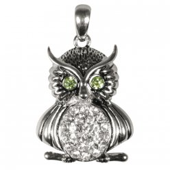 breloque en metal hibou strass