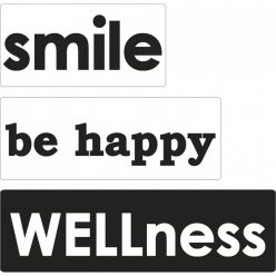 labels smile be happy wellness