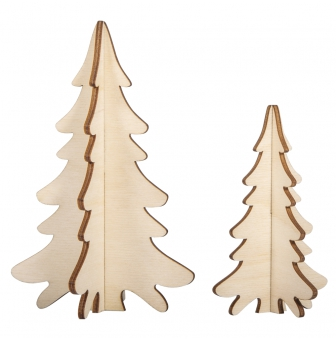 deco en bois a monter sapins 2 pieces