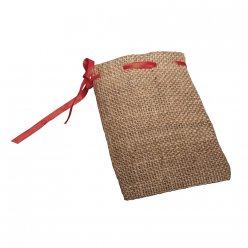 sachets jute cordon rouge 10x14 cm 4 pieces