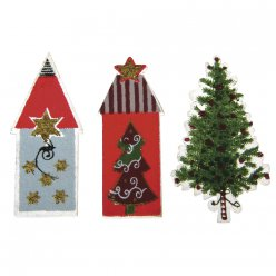 decors en bois christmas village sapin  12 pieces