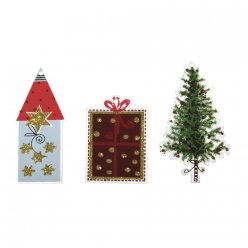 decors a suspendre en bois christmas village  6 pieces