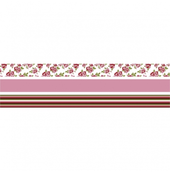 rubans tissu thermocollant roses et rayures 15 mm