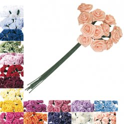 bouquet petites roses en satin 12 mm o 12 pieces