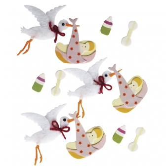 sticker decoratif bebe cigogne