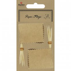 pique decoratif beige en papier drapeau 10 pieces