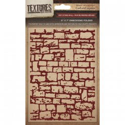 embossing folder  dry stone wall mur en pierre