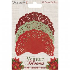 napperons paper doilies winter blooms 30pc