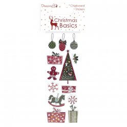 chipboard stickers christmas basics 13 pieces