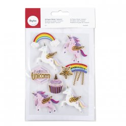 3d sticker en papier unicorne