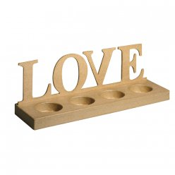 support bois bougies love 32x9x10 cm