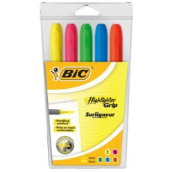 bic textmarker highlighter grip keilspitze 5er etui