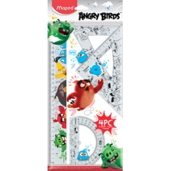 maped kit de geometrie angry birds 4 pieces transparent