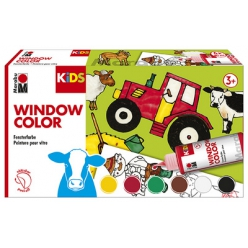 marabu kids window color set bauernhof 6 x 80 ml