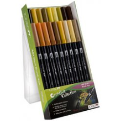 kit de 18 stylos feutres dual brush pen abt ocres