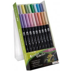 kit de 18 stylos feutres dual brush pen abt pastel