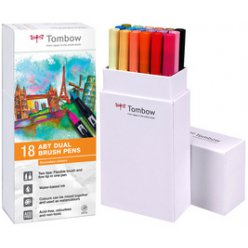 feutres dual brush pen kit 18 couleurs pastel