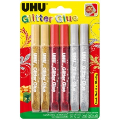 uhu colle a paillettes glitter glue couleurs festives
