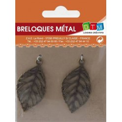 breloque en metal feuille bronze