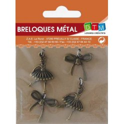breloque en metal danseuse bronze