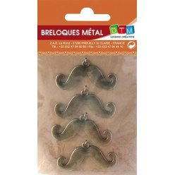 breloque en metal moustache bronze