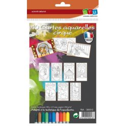 cartes aquarelles a colorier cirque 10 pieces