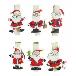 pince a linge magnetique pere noel 6 pieces