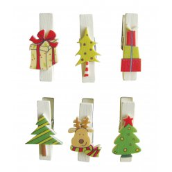 pince a linge magnetique noel 6 pieces