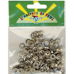boutons pression argente o 10mm 50 pieces