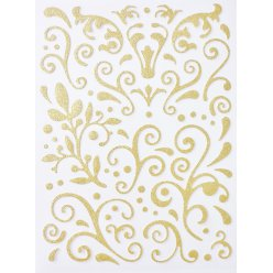 sticker paillete adhesif arabesque dore