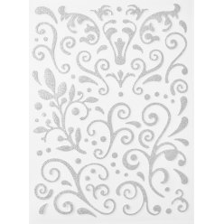 sticker paillete adhesif arabesque argente