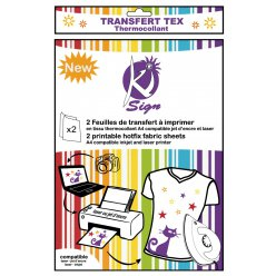 papier transfert tissu thermocollant imprimable 2 pieces