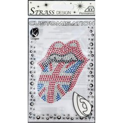 transfert thermocollant clou et strass rock n roll 10x8 cm