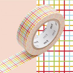 masking tape mt 15 mm quadrillage rouge