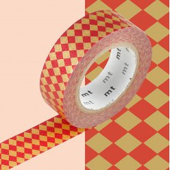 masking tape mt 15 mm carreaux rouge et or