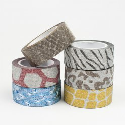 masking tape paillete 15 mm 6 pieces animaux