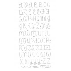 stickers alphabet paillete puffy argente