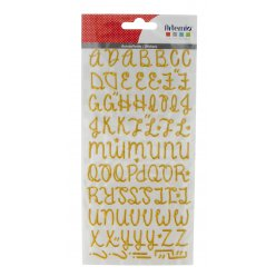 stickers alphabet paillete puffy dore