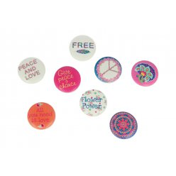 stickers bois cabochon flower power 8 pieces