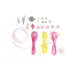 kit bracelet ruban et breloque lollipop pink