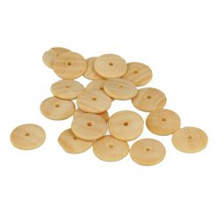 perle bois lucy cabochon rond 15x3mm 35 pieces