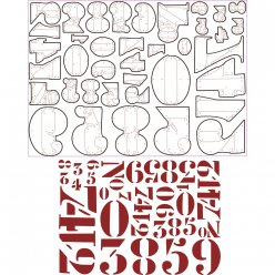 sizzix thinlits kit  stencil numbers tholtz 38 pieces