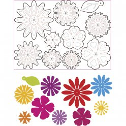 sizzix thinlits kit  mixetmatch flowers 10 pieces