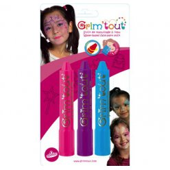 crayons maquillage sans paraben 3 sticks princesse