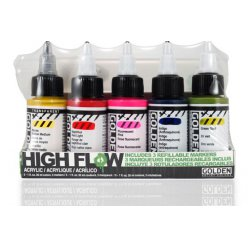 encre acrylic high flow golden marker set 5 encres 3 marqueurs